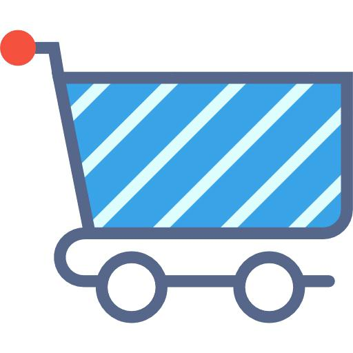 Blue Shopping Cart Shopping Cart Vector Line Icon Isolated
