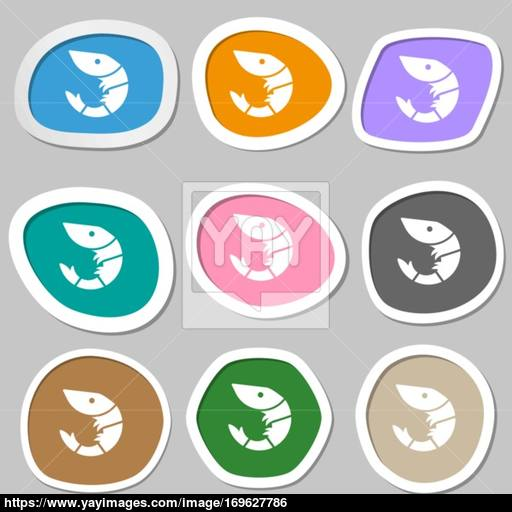 Shrimp, Seafood Icon Symbols Multicolored Paper Stickers Vector
