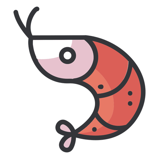 Shrimp Flat Cartoon Icon
