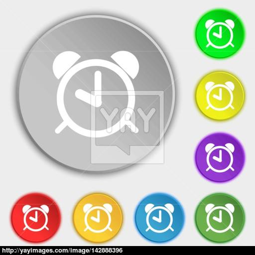 Alarm Clock Sign Icon Wake Up Alarm Symbol Symbols On Eight Flat