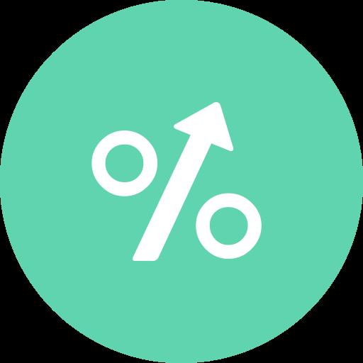 Interest, Percentage, Arrow, Sign, Arrow Up Icon