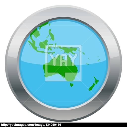 Australia Map Silver Icon Vector