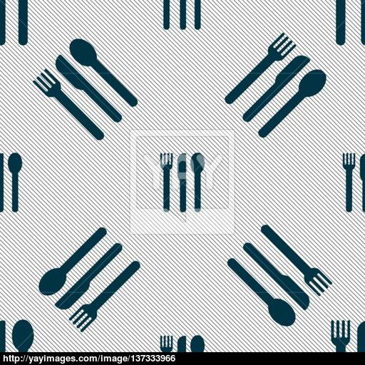 Fork, Knife, Spoon Icon Sign Seamless Pattern With Geometric
