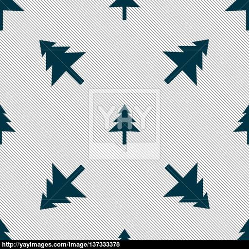 Christmas Tree Icon Sign Seamless Pattern With Geometric Texture