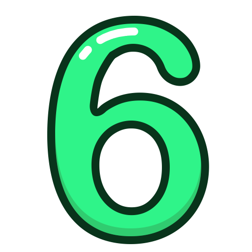 Study, Six, Green, Numbers, Number Icon