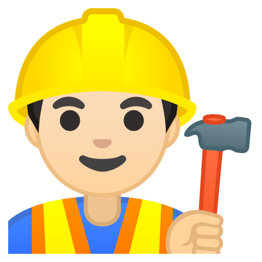 Man Construction Worker Light Skin Tone Icon Noto Emoji People