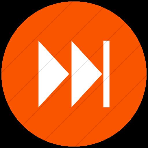Flat Circle White On Orange Classica Skip Forward Arrow