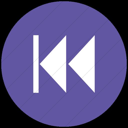 Flat Circle White On Purple Classica Skip Back Arrow Icon