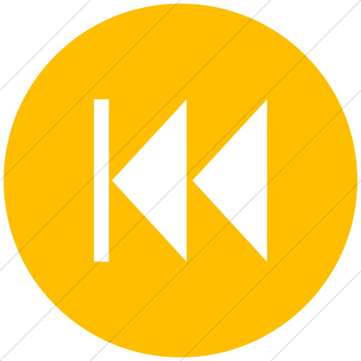 Flat Circle White On Yellow Classica Skip Back Arrow Icon