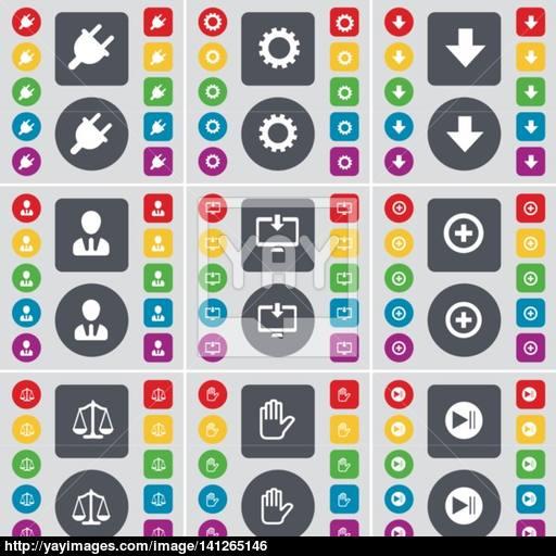 Socket, Gear, Arrow Down, Avatar, Monitor, Plus, Scales, Hand