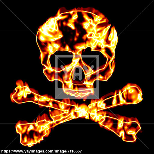 Fiery Skull And Crossbones Image