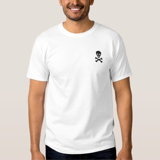 Skull And Crossbones Embroidered T Shirt