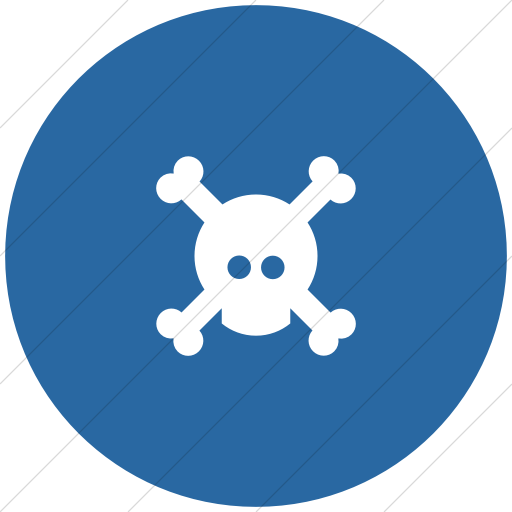 Flat Circle White On Blue Foundation Skull Icon