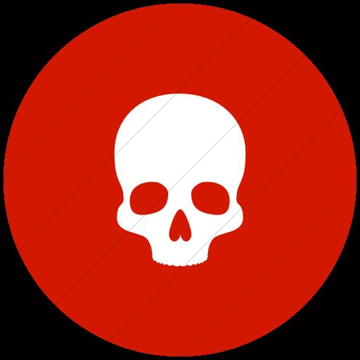 Flat Circle White On Red Raphael Skull Icon