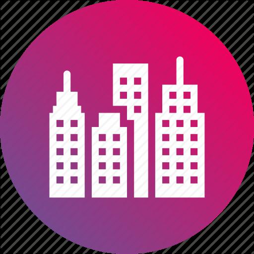 Buildings, Business, City, Gradient, Skyline Icon