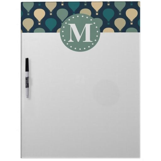 Blue Retro Hot Air Balloon Pattern Monogram Dry Erase Board