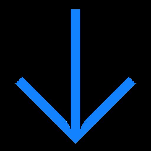 Down, Arrow, Line, Turn Icon