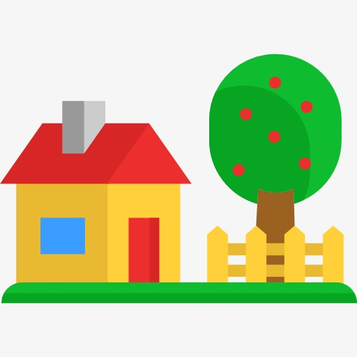 Small House Near A Tree, Tree Clipart, House, Cartoon Png Image
