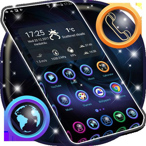 Hd Dark Blue Launcher Theme App Blue Abstract Art, Modern Icons