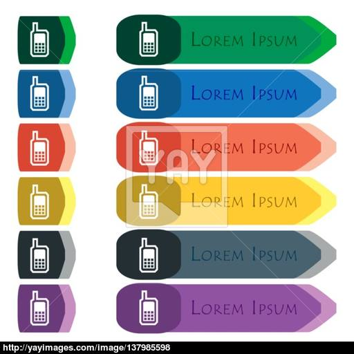 Mobile Phone Icon Sign Set Of Colorful, Bright Long Buttons