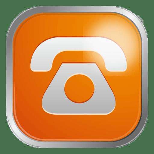 Orange Telephone Icon