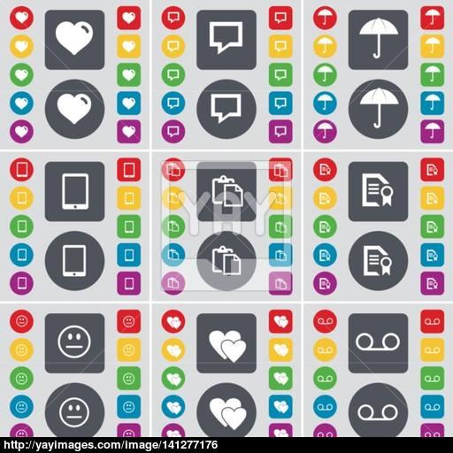 Heart, Chat Bubble, Umbrella, Tablet Pc, Survey, Text File, Smile
