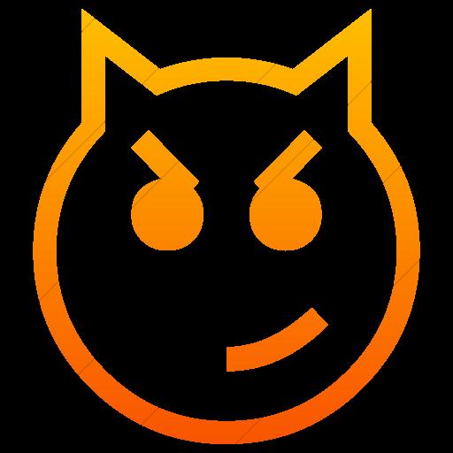 Simple Orange Gradient Classic Emoticons Cat Face
