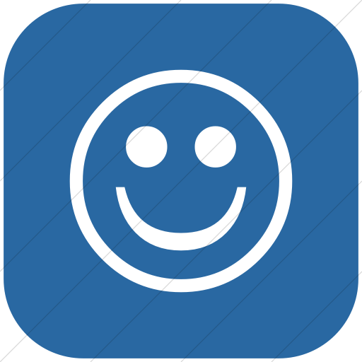 Flat Rounded Square White On Blue Classic Emoticons