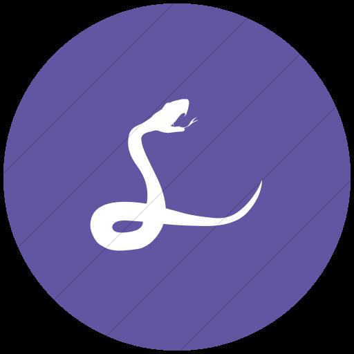 Flat Circle White On Purple Animals Snake Icon