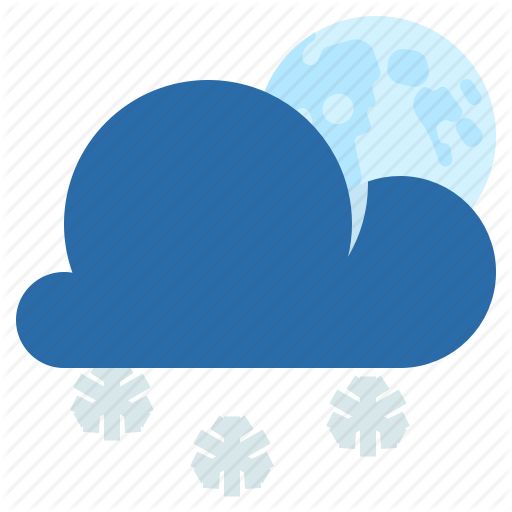 Night, Partly Cloudy, Snow, Weather Icon