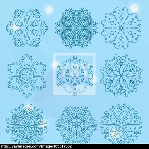 Snowflake Icon Winter Theme Winter Snowflakes Of Different