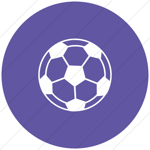 Flat Circle White On Purple Classica Soccer Ball Icon