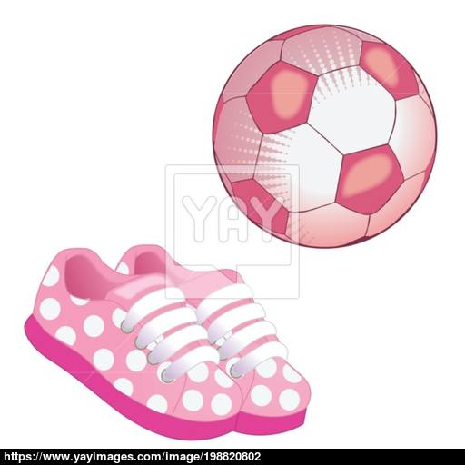 Soccer Ball And Pink Sneakers Icon Flat Vector Illustration