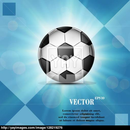 Soccer Ball Web Icon On A Flat Geometric Abstract Background