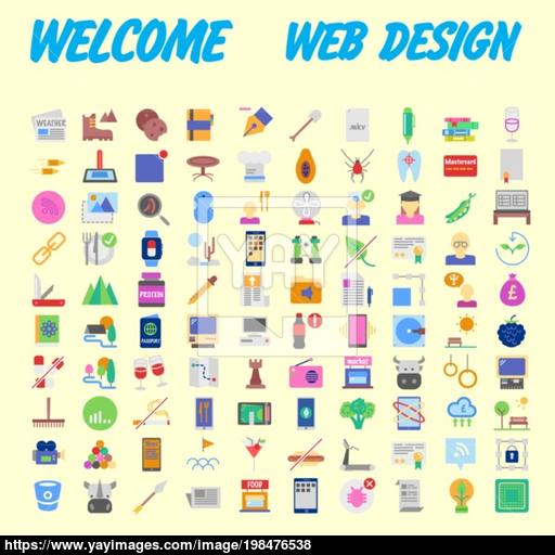 Universal Set Of Social, Technical, Household Icons Isolated