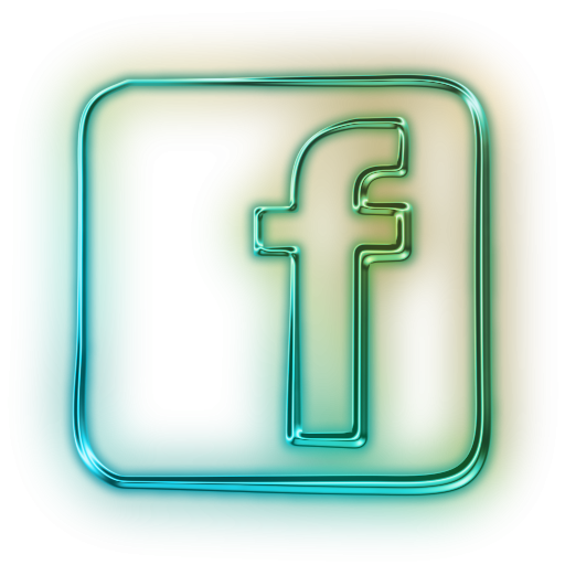 Glowing Green Neon Icon Social Media Logos Facebook Logo Square