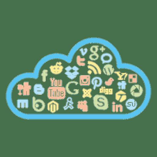 Social Media Cloud Icons