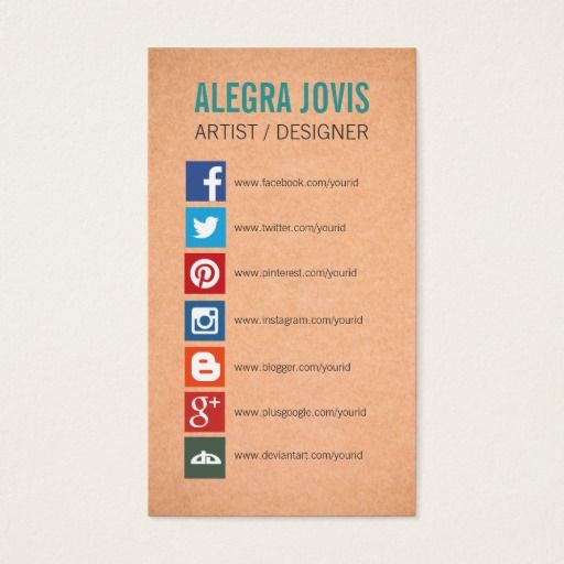 Social Media Icons Symbols Business Card Visit Link To See If You