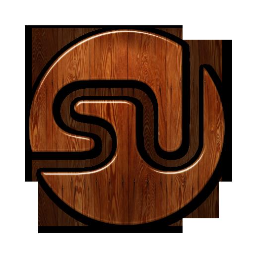 Glossy Waxed Wood Icon Social Media Logos Stumbleupon