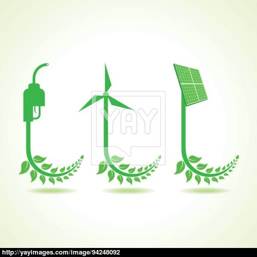 Eco Icon With Nozzle,wind Mill And Solar Panel Vector