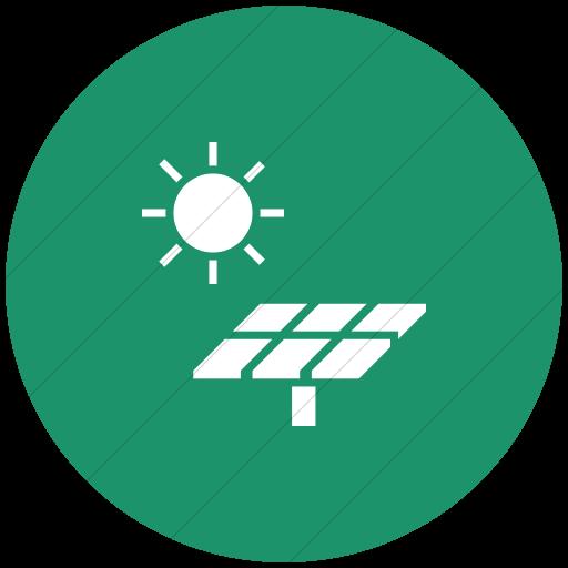 Flat Circle White On Aqua Iconathon Solar Panel Icon