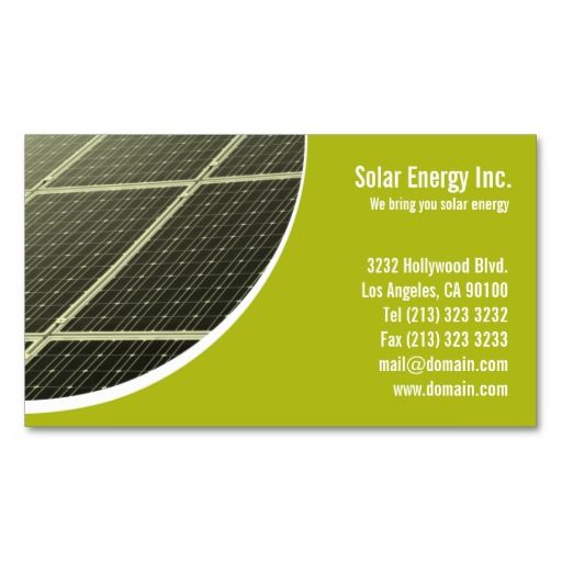 Solar Panel Green Energy Business Card Business