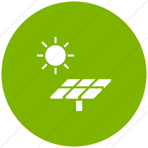 Flat Circle White On Green Iconathon Solar Panel Icon