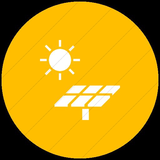Flat Circle White On Yellow Iconathon Solar Panel Icon
