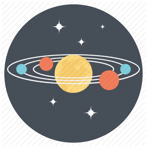 Astronomy, Orbiting, Planets, Solar System Icon