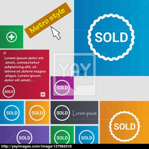 Sold Icon Sign Buttons Modern Interface Website Buttons