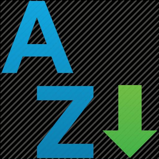 Arrow, Ascend, Ascending, Sort, Sort A Z, Sorting, Sorting A Z Icon