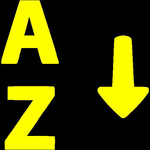 Yellow Alphabetical Sorting Icon