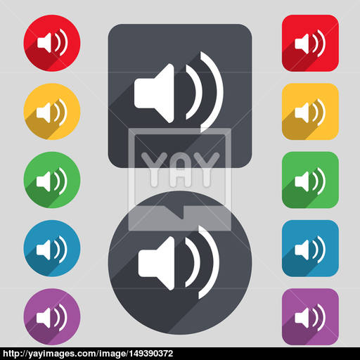 Speaker Volume, Sound Icon Sign A Set Of Colored Buttons