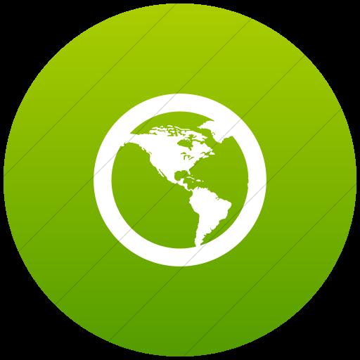 Flat Circle White On Green Gradient Raphael Globe
